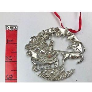 Lenox Silver Santa On Sleigh Christmas Ornament